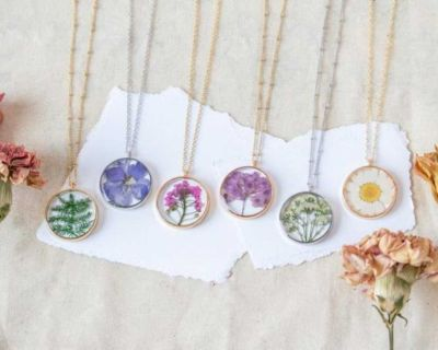 100 + Pieces of Pressed Flower Jewelry