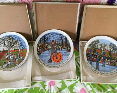 3 Limited Edition Sycamore Pumpkin Festival Collector Plates