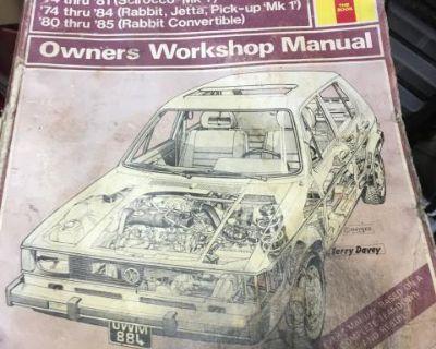 Haynes rabbit, Jetta, scirocco, pick up manual