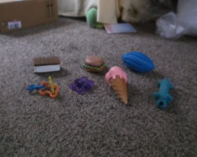 assorted dog toys