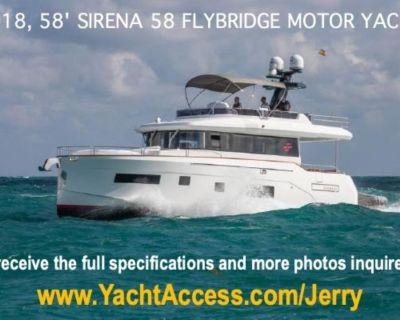 2018, 58' Sirena 58 Flybridge Motor Yacht For Sale