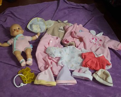 2008 Fisher Price Baby Doll, Clothes, and Accessories