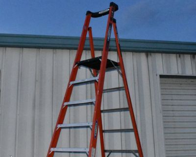Werner 10 FT Platform Ladder with 16 FT Total Reach Professional Fiberglass