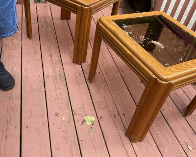 Wooden end table set of 2
