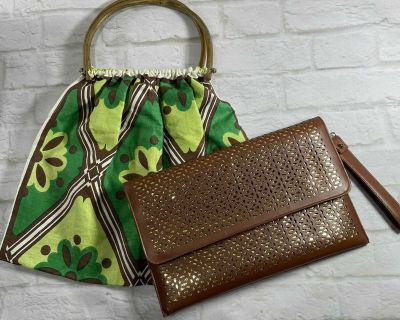 Two Purses: Fabric Bamboo & Vegan Leather Clutch Wristlet