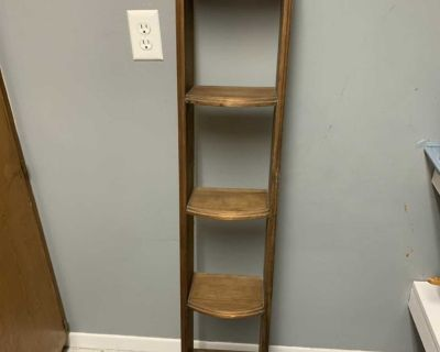 Antique wooden shelf with heart cut out