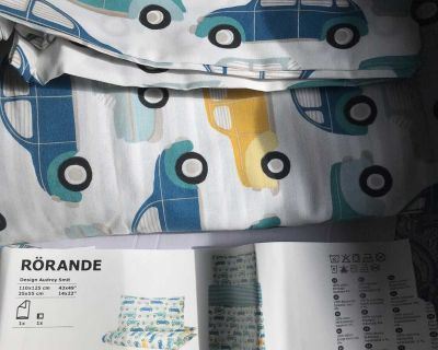 New ikea duvet cover and pillow case for crib sized bedding