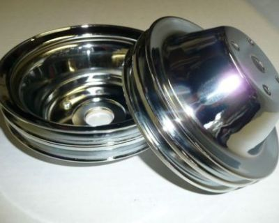 Sb Chevy Sbc Long Water Pump 2 Groove Chrome Steel Pulley Kit Upper & Lower V8