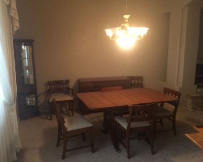 1950's Duncan Phyve dining room set with 6 chairs and credenza