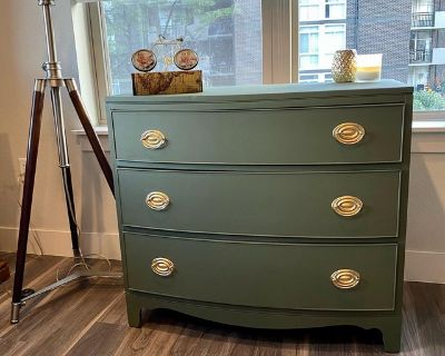 Military green Morganston dresser with gold handles solid wood