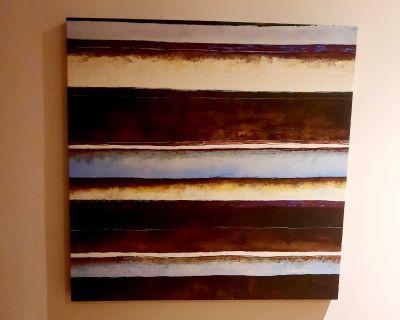 "Canvas print 36x36"" in cream blue brown tones"