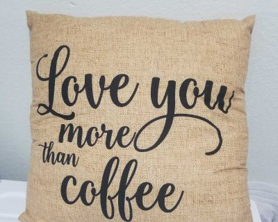 Love you more than coffee throw pillow