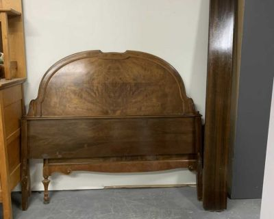 Antique walnut double bed frame