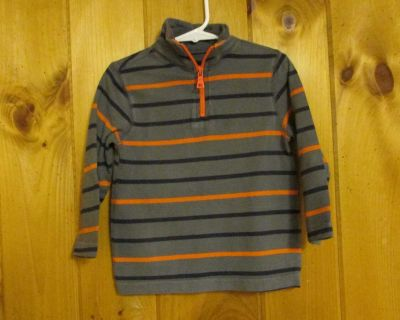 Place 2T charcoal w/navy and orange stripes; heavy cotton; 1/4 zip top