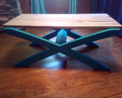 Beautiful solid wood coffee table topped with solid cedar!!