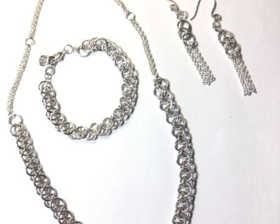 Silver Chain Weave Jewelry Set