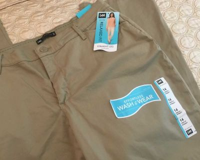 RELAXED FIT TAN LEE JEANS. SIZE 14