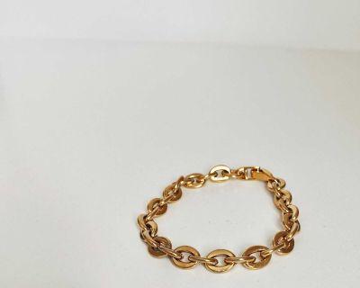 Gold plated titanium steel chain bracelet