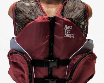 Bass Pro Shops Mesh Fishing Life Vest Jacket Pfd For Adults Burgundy X-large