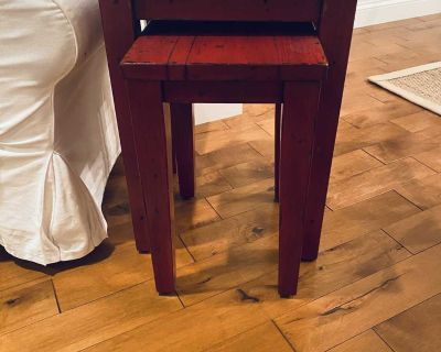 Pottery Barn Red Distressed Nesting Tables
