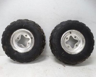2003 Suzuki Ltz400 Ltz Atv Dunlop Kt331 22x7-10 Front Rims & Studded Tires