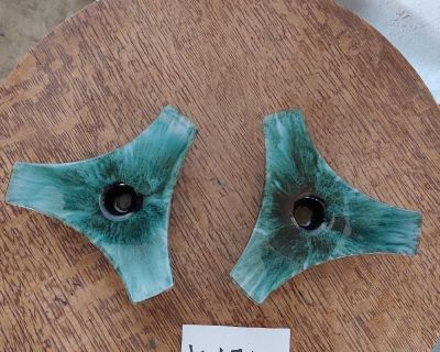 Blue mountain pottery candle holders