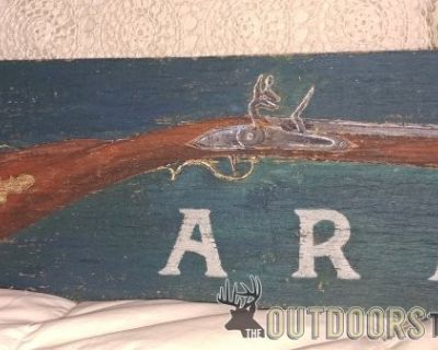 FS 'Vintage' armory sign on old barn panel