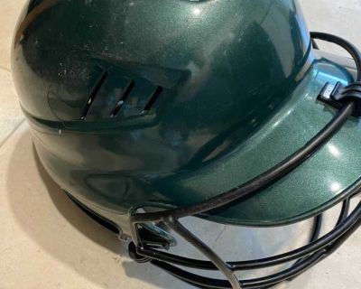 Green Softball helmet with cage