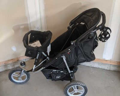 VALCO BABY Black Single &/or Double Stroller with Cup Holder & Aluminum Wheels/Tires & Accessories - Includes Extra /Spare Tire, Diaper Bag