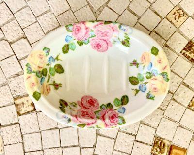 Laura Ashley Ceramic Bathelle Soap Dish Rose Garden Flowers