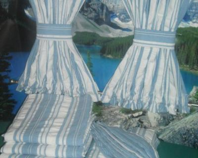 VW Blue & White Stripe Curtains Bays 1968-79