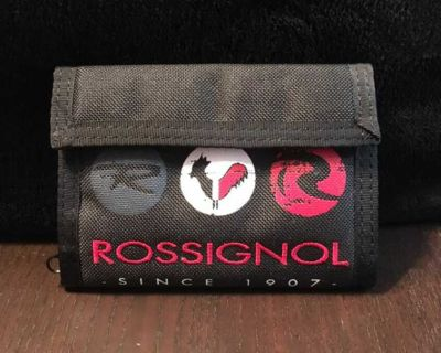 BLACK ROSSIGNOL VELCRO WALLET WITH ZIPPERED COIN POCKET