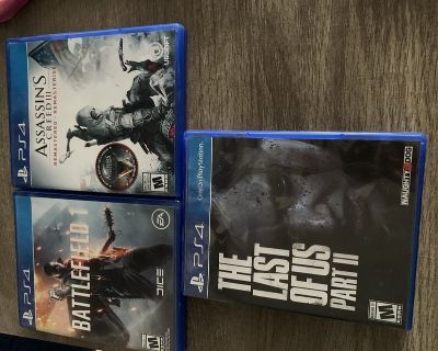 Video games. Battlefield 1, Assassin s creed 3, and the last of us part 2