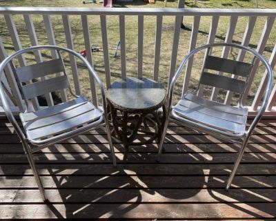 Wicker table and metal chairs