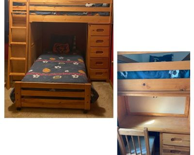 Twin Loft Bed with desk, chest of drawers, and mattresses