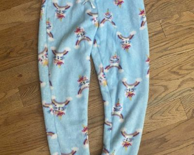 Unicorn kitty fleece pants, size M