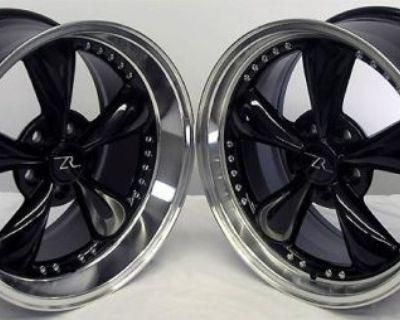 "18"" Gloss Black Deep Dish Mustang Bullitt Wheels 18x9 18x10 5x114.3 Rims 94-04"