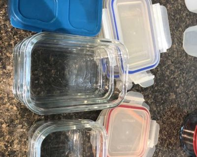 6 Glass storage container + 1 plastic sandwhich container