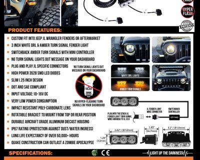 """Another Quake LED First to Market JL Fender DRL with Switchback Turn Signals, with """"No Dash Errors!"""""""