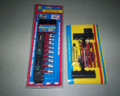 19 pc. ratching toolset and plug tire kit - both new