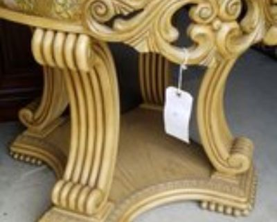 Marbled Top Table Ornate Wood Base #2552-2