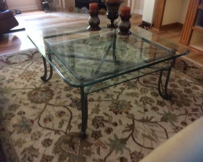 Glass Top Coffee Table With Matching Side Table