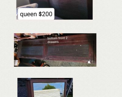 Queen bed and mirror