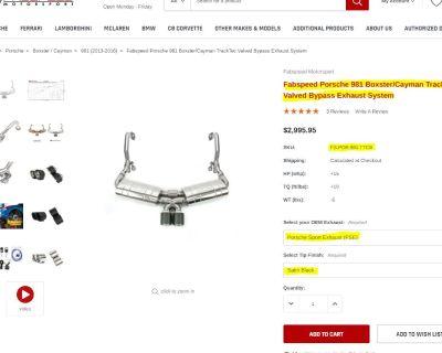 Fabspeed Porsche 981 Boxster/Cayman TrackTec Valved Bypass Exhaust System