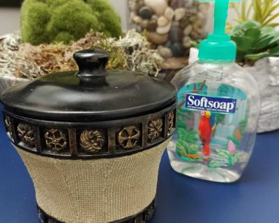 Nice container for bathroom or bedroom. Free tropical soap dispenser included