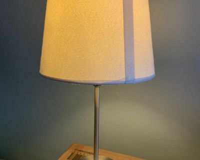 Silver Lamp Base with White Shade