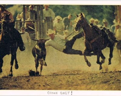 Humorous Rodeo Mishap - OoooH SHIT! - Old Photo - Unframed - 1940's-1950's