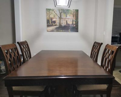 Dining Table With 4 Chairs (Solid Wood)