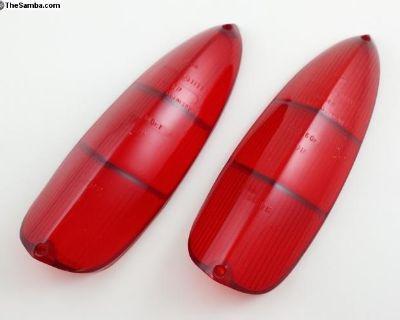 Red Type 3 Flat Tail Light Lenses German 1961-69