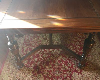 Beautiful, antique 1940s Jacobean style dining table, 2 chairs